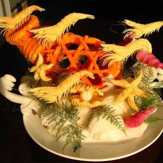 群虾戏游 雕刻作品